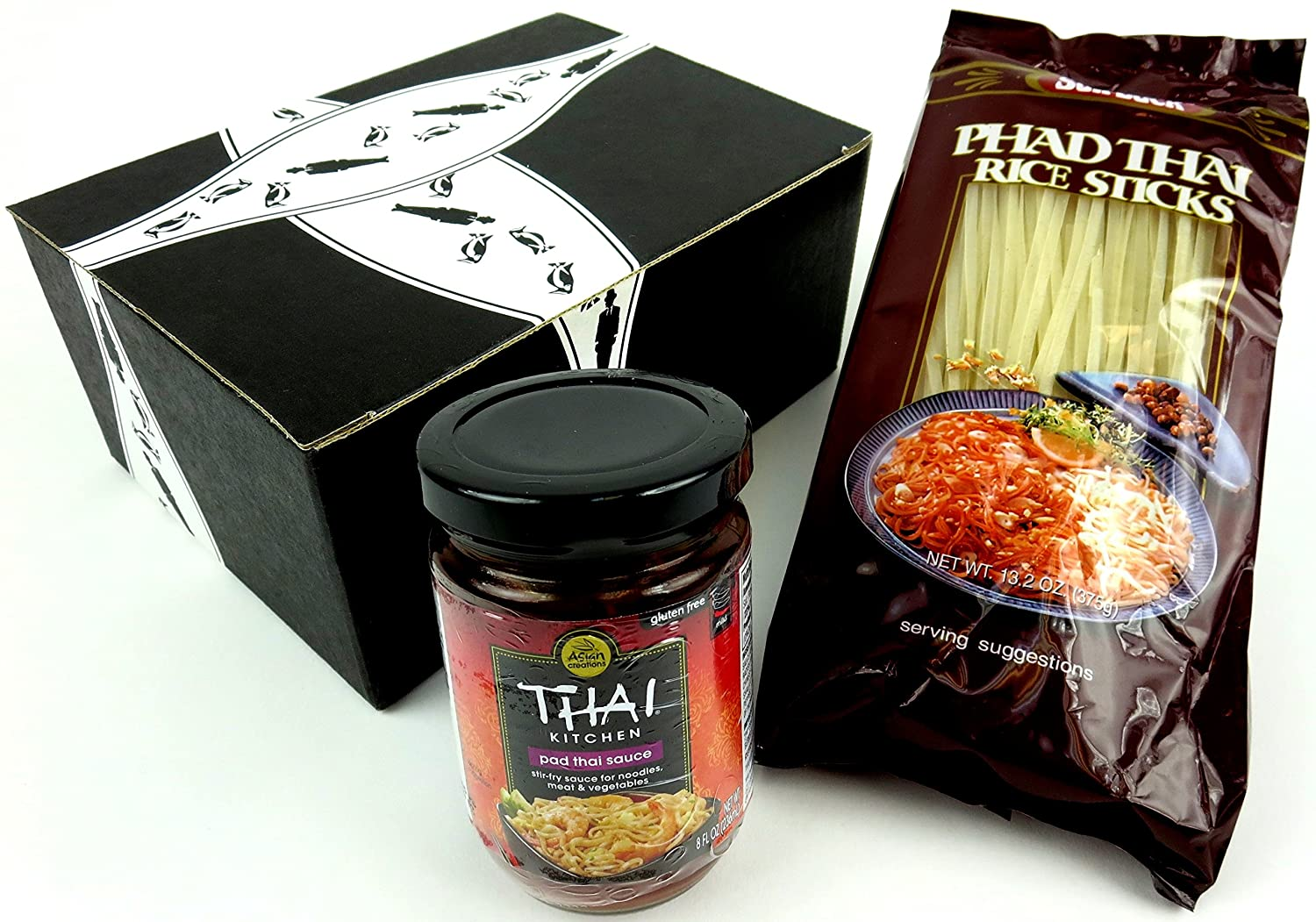 Amazon.com : Pad Thai Kit: One 13.2 oz Package of Sun Luck Phad Thai Rice  Sticks and One 8 oz Jar of Thai Kitchen Pad Thai Sauce in a Gift Box :  Grocery ...