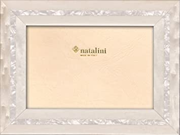 Natalini Mira Blu Photo Frame Blue and White Wood Parquetry Handmade Italy 4x6