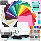 Silhouette Cameo Mini (Portrait) Starter Bundle with 24 Oracal 651 Sheets, Transfer Paper, Guide, 24 Sketch Pens, and More