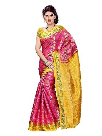 7c8e252f7a0003 Mimosa Art Silk Saree (140-Rani-Gld_Rani*Gold): Amazon.in: Clothing &  Accessories