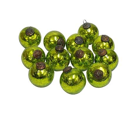 Vintage Colorful Glass Reflector Christmas Ornament festive Tree Decor Set of 5