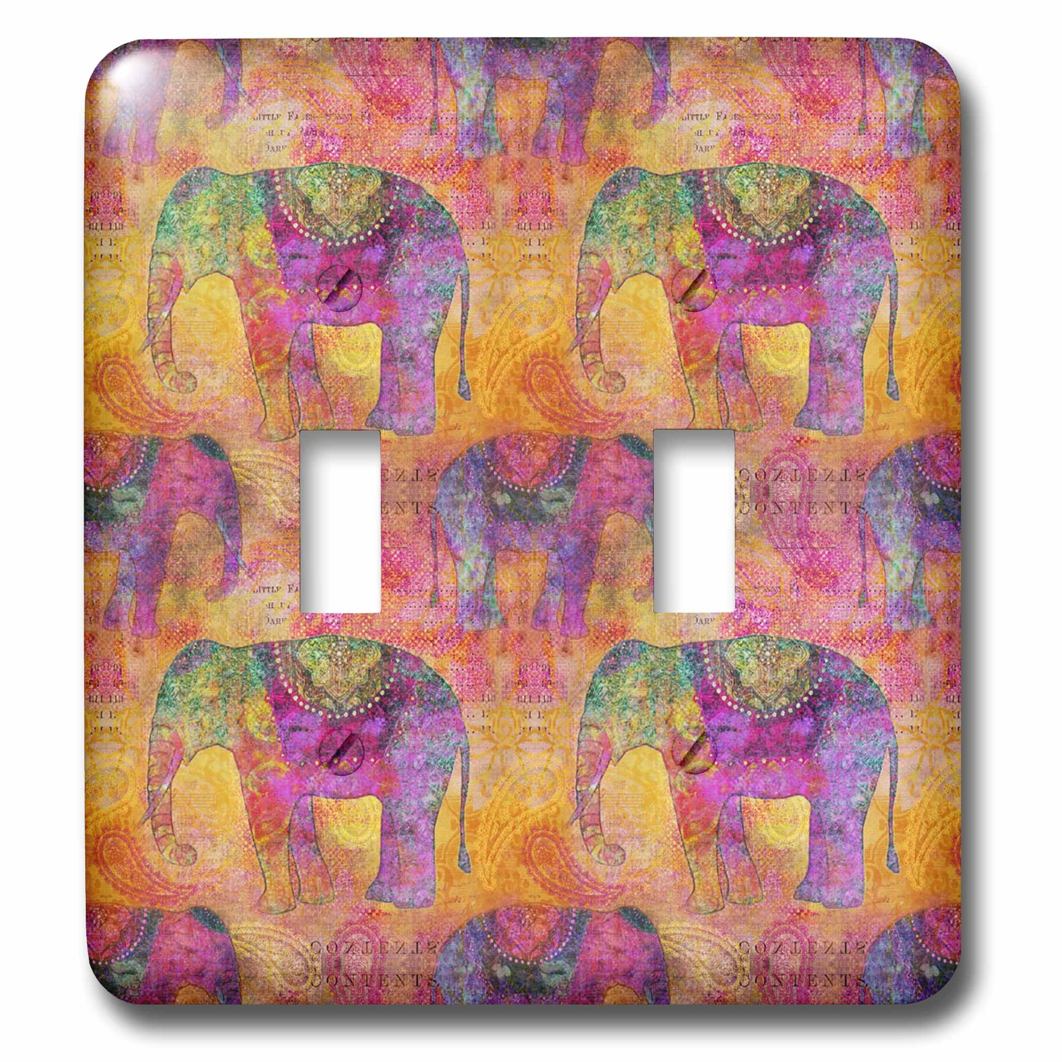 3dRose Andrea Haase Animals Illustration - Pattern of elephants India style in warm colors - Light Switch Covers - double toggle switch (lsp_266473_2)