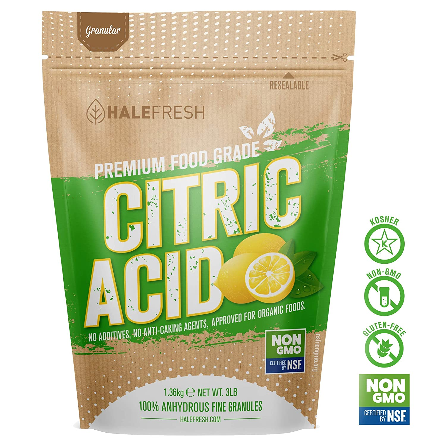 Citric Acid - 3 lb Pure for Bath Bombs - Kosher and Gluten Free - Approved for Organic Foods USP Grade USA Made