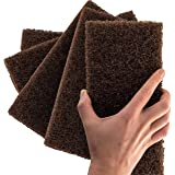Heavy Duty XL Brown Scouring Pad 5 Pack. 10 x 4.5in Large Multipurpose Nylon Scrubbing Sponges. Clean Bathrooms, Kitchens, Co
