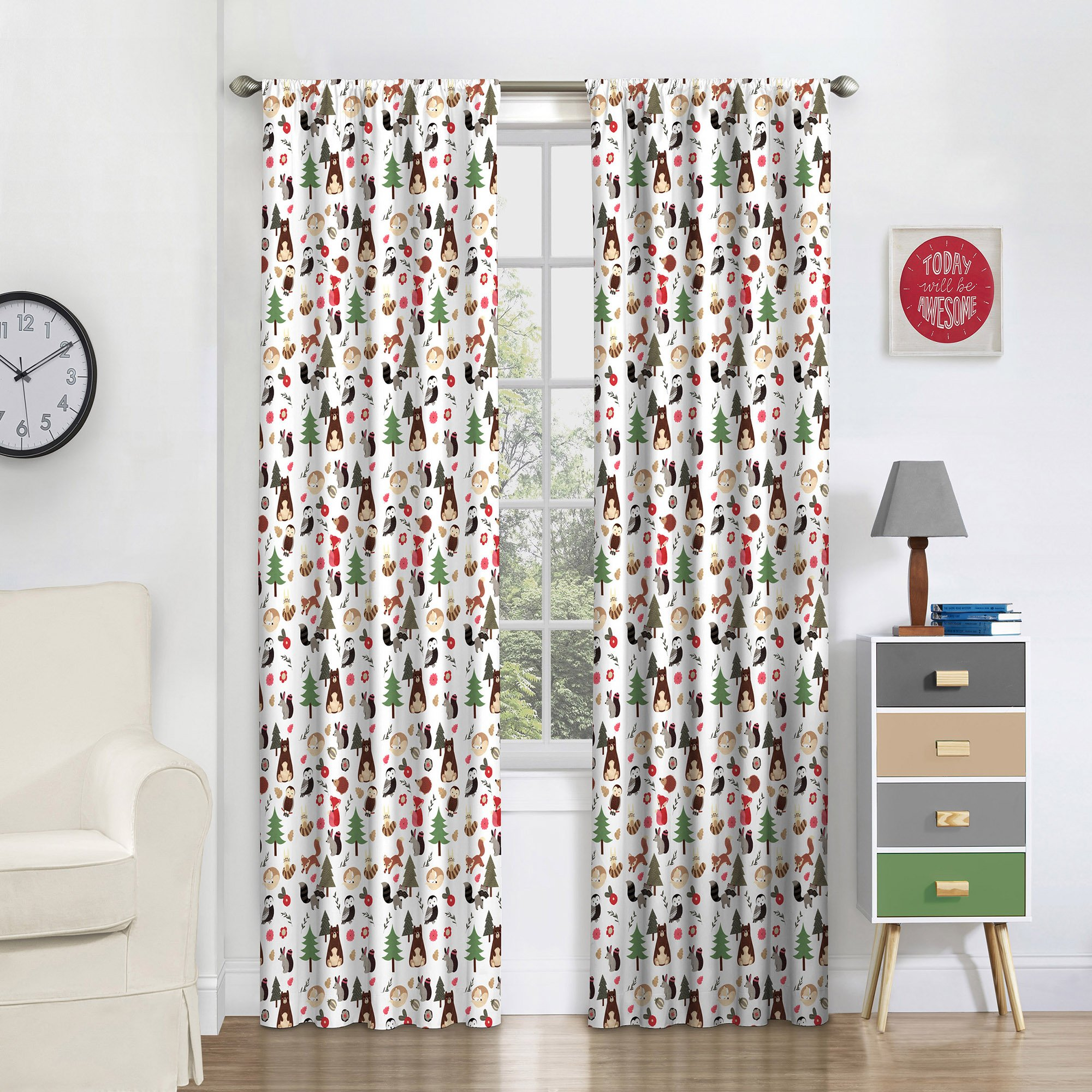 Eclipse 16460042X063MUL Forest Friends 42-Inch by 63-Inch Signle Window Curtain Panel, Multi