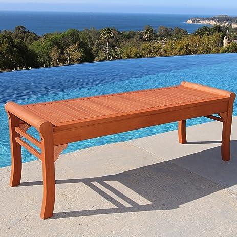 VIFAH V437 Outdoor FSC Wood Backless Bench