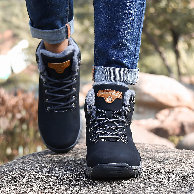 SAGUARO Mens Women Fur Lined Snow Boots Waterproof Winter Booties Cold Weather Outdoor Hiking Work Shoes