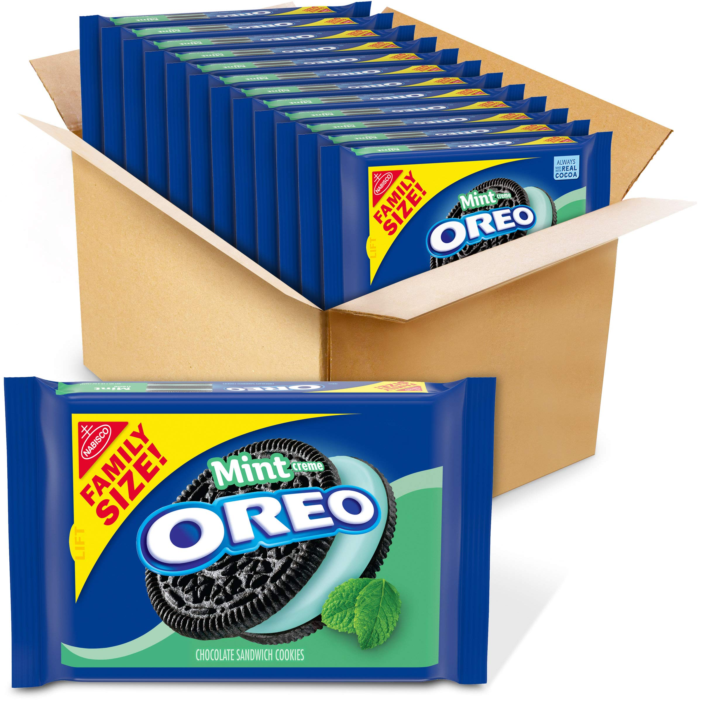 OREO Mint Flavored Creme Chocolate Sandwich Cookies, Family Size, 12 - 20 oz Packs