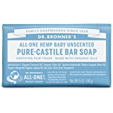 Dr. Bronner's Pure-Castile Bar Soap, All-One Hemp Baby Unscented, 5-Ounce Bars (Pack of 6)