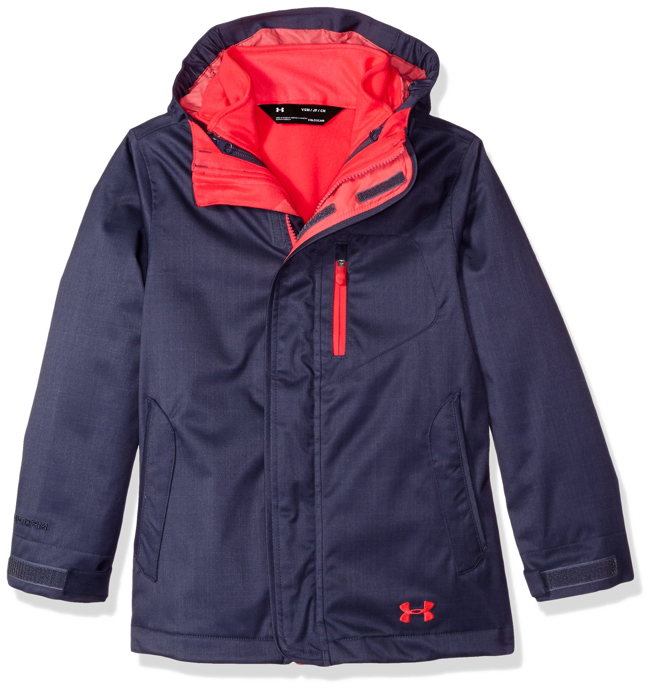 Under Armour Girls' ColdGear Infrared Gemma 3-in-1 Jacket, Apollo Gray/Penta Pink, Youth Large