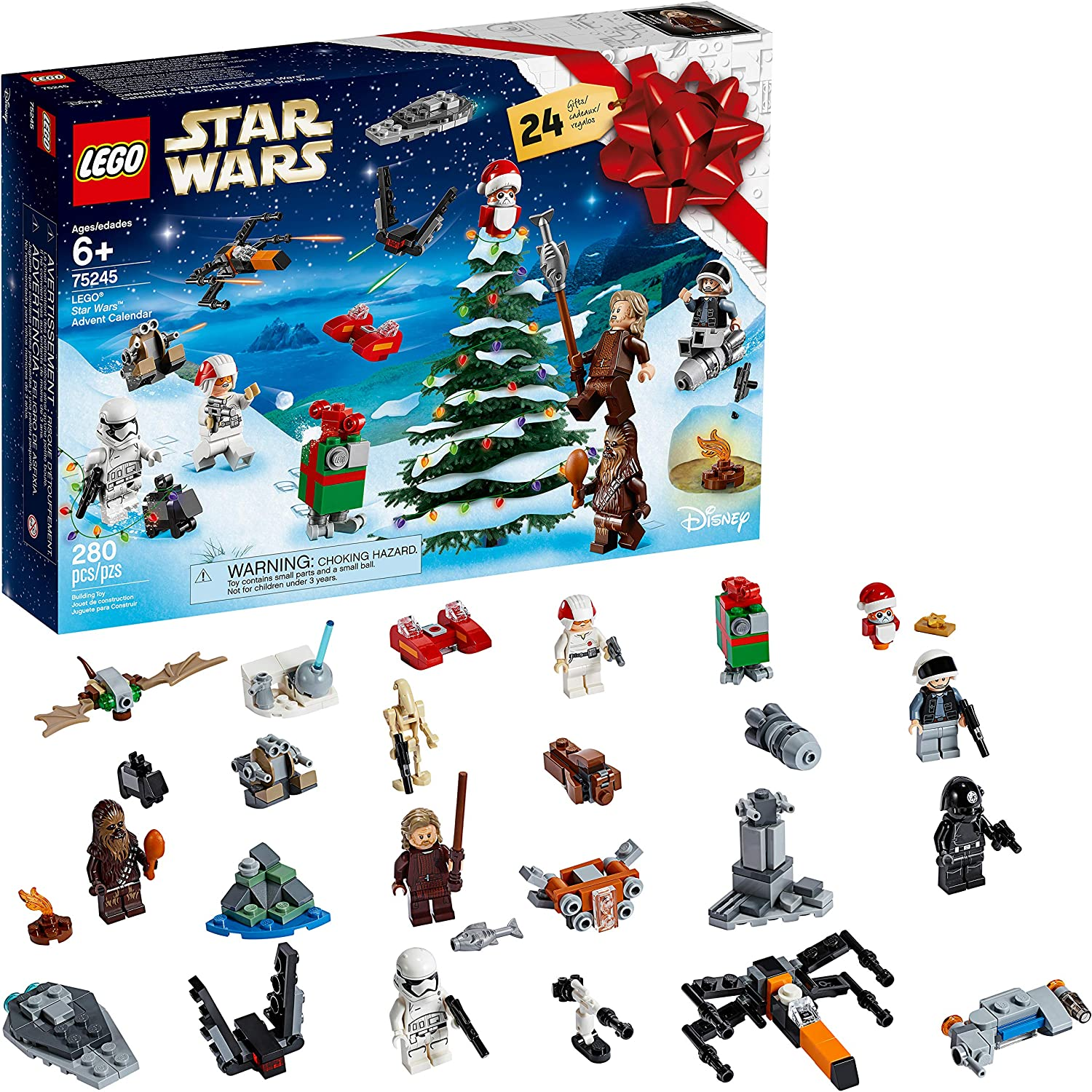 Lego Star Wars 2019 Advent Calendar 75245 Holiday Gift Set Building Kit With Star Wars Minifigure Characters 280 Pieces