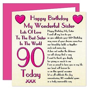 Sister 90th Happy Birthday Card
