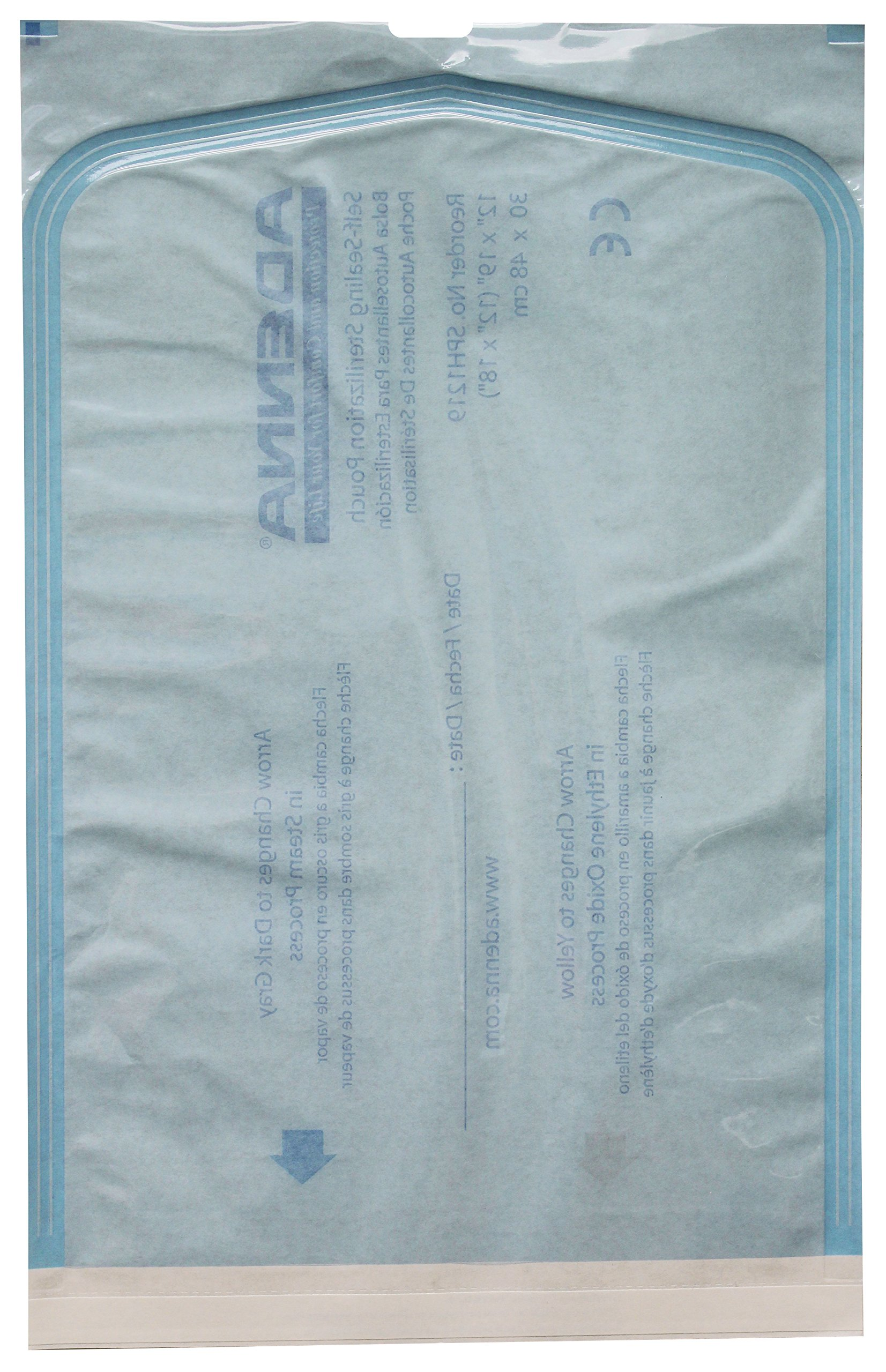 Adenna White Paper/Blue Tinted Film 12'' X 17-3/4 Sterilization Pouch (Box of 100)