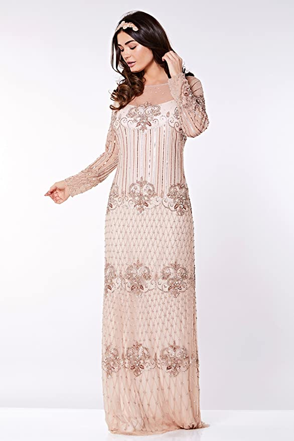 Art Deco Dresses | Art Deco Fashion, Clothing Dolores Maxi Flapper Prom Dress in Champagne - Quality Handmade Wedding Dresses for Women $232.70 AT vintagedancer.com