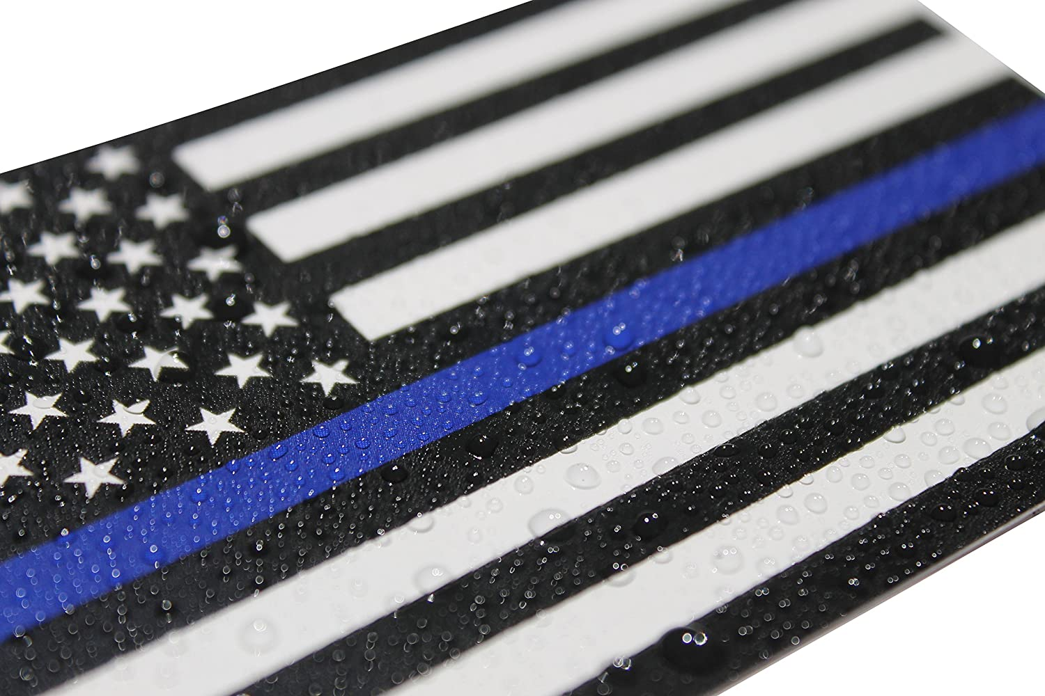 3x5 in Thin Blue Line Flag Decals 10-pack In Support of Police and Law Enforcement Officers Fine Line Flag Auto Decals 10 Black White and Blue American Flag Stickers for Cars and Trucks