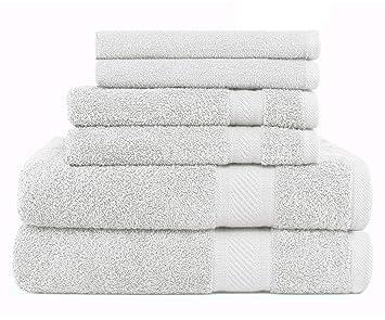 SweetNeedle - Uso diario Juego de toallas de 6 piezas, Blanco - 2 toallas de baño 68x126 CM, ...