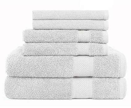 SweetNeedle - Uso diario Juego de toallas de 6 piezas, Blanco - 2 toallas de