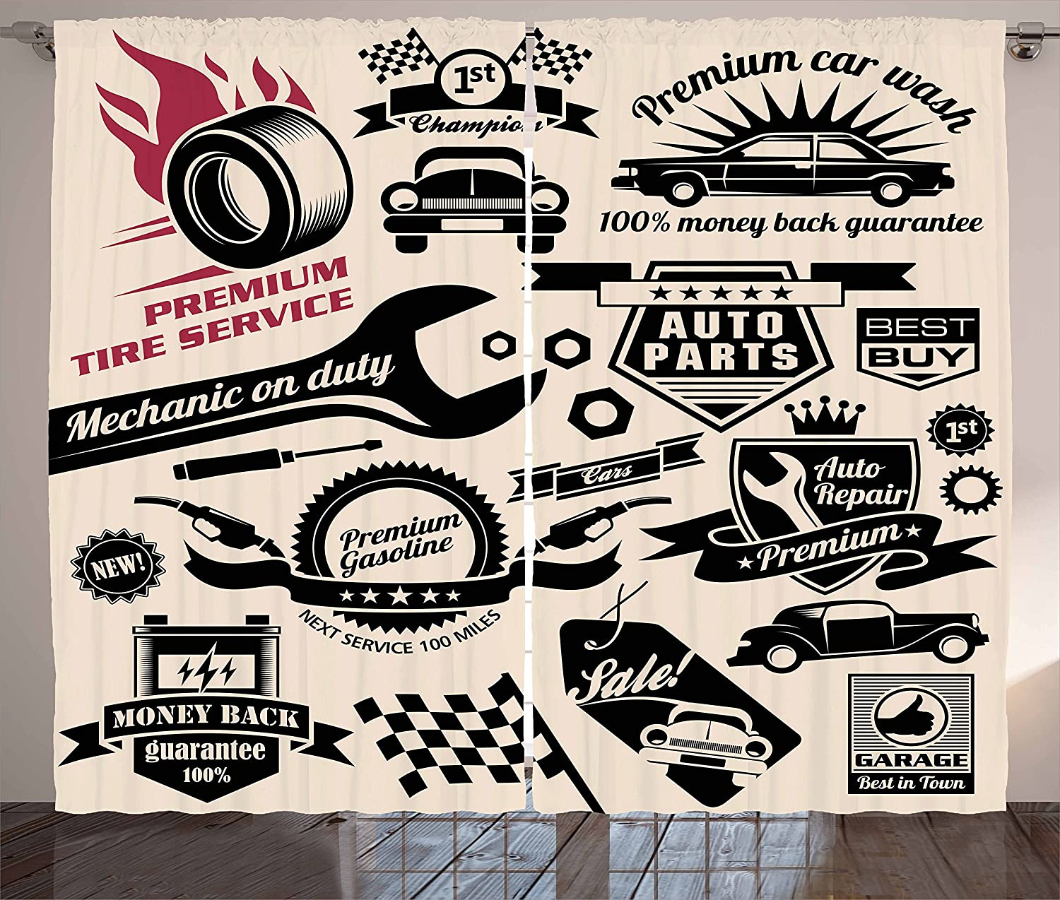 """Ambesonne Retro Curtains, Car Repair Shop Logos Monochrome Car Silhouettes Best Garage in Town, Living Room Bedroom Window Drapes 2 Panel Set, 108"""" X 63"""", Beige Coral"""