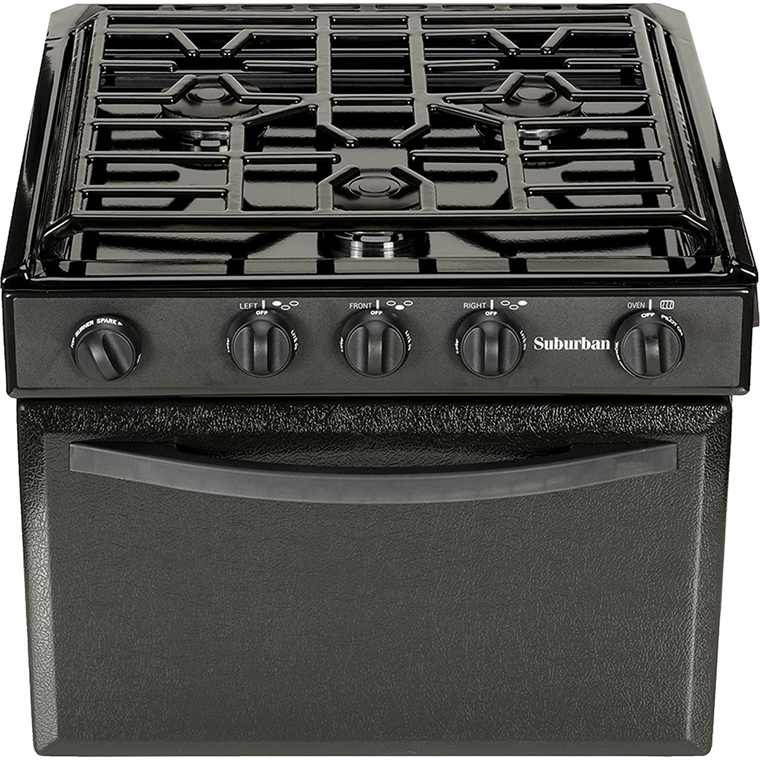 Suburban 3206A Gas Range with Conventional Burners - Black w/Piezo Ignition, 17""