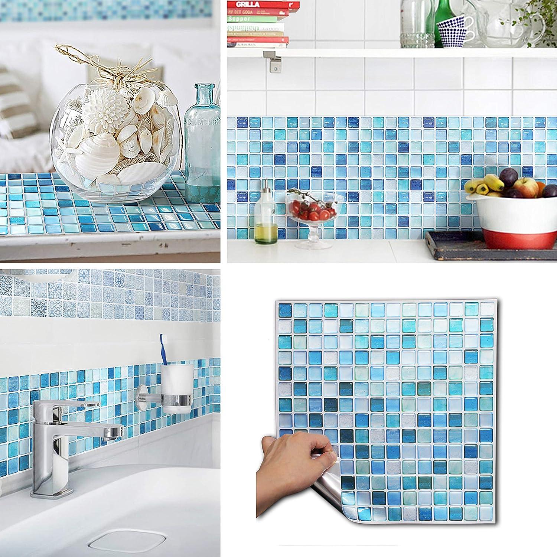 BEAUSTILE Decorative Tile Stickers Peel and Stick Backsplash Fire Retardant Tile Sheet (10pcs) (L, N.Blue)