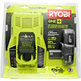 Ryobi P128 18V One+ Lithium-Ion Battery And Intelliport Charger, 10.94 x 11.02 x 3.541
