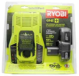 Ryobi P128 Upgrade Kit: Intelliport 18V Lithium Ion Battery Charger (P117) and Single 18V Lithium Ion Battery (P102) Compatible With One+ System