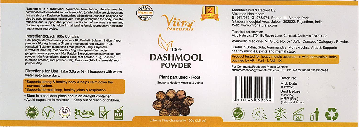 Buy Vitro Dashmool Powder 100gm Set of 4 Online at Low