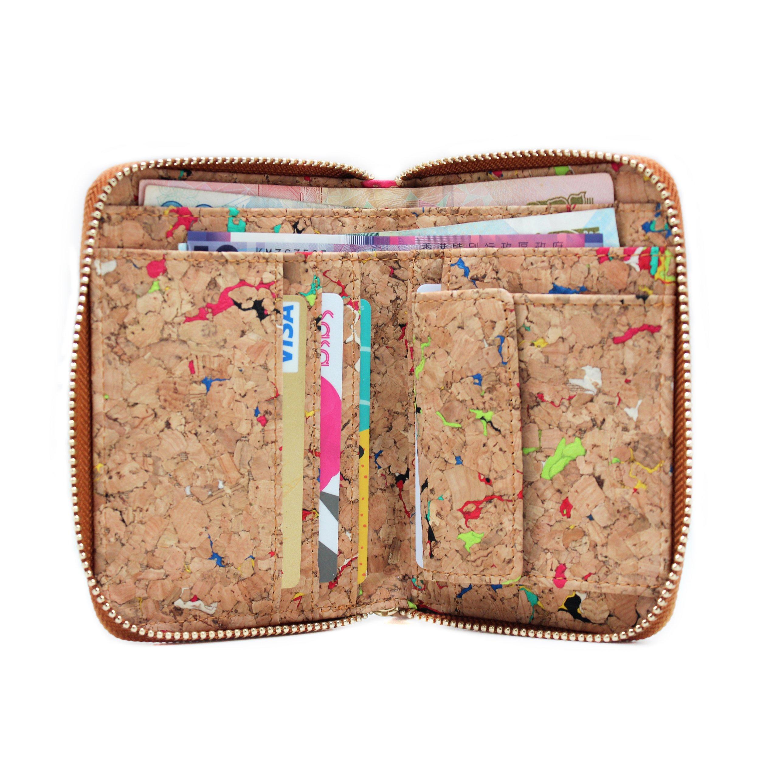 boshiho Fashion Cork Wallet Zipper Around Design Bifold Purse Wallet with Coin Pocket Holder Eco Friendly Vegan Gift (Color 1)