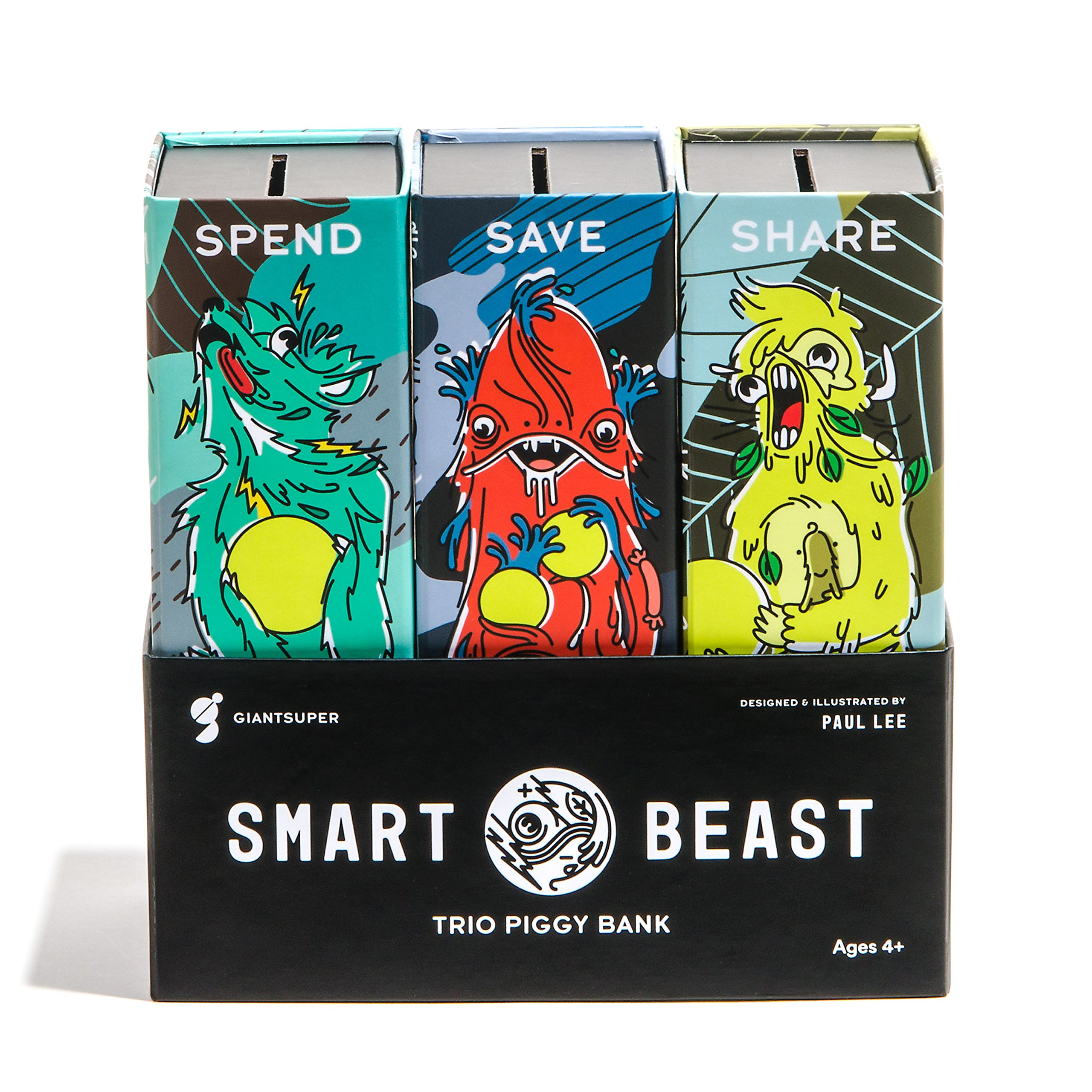 Giantsuper Smart Beast Trio Piggy Bank: 3-in-1 Money-wise Educational Piggy Bank …