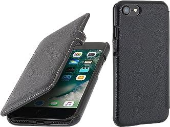 StilGut Book Type avec Clip, Housse iPhone 8 & iPhone 7 en Cuir. Etui de Protection à Ouverture latérale pour iPhone 8 & iPhone 7 (4.7 Pouces), Noir