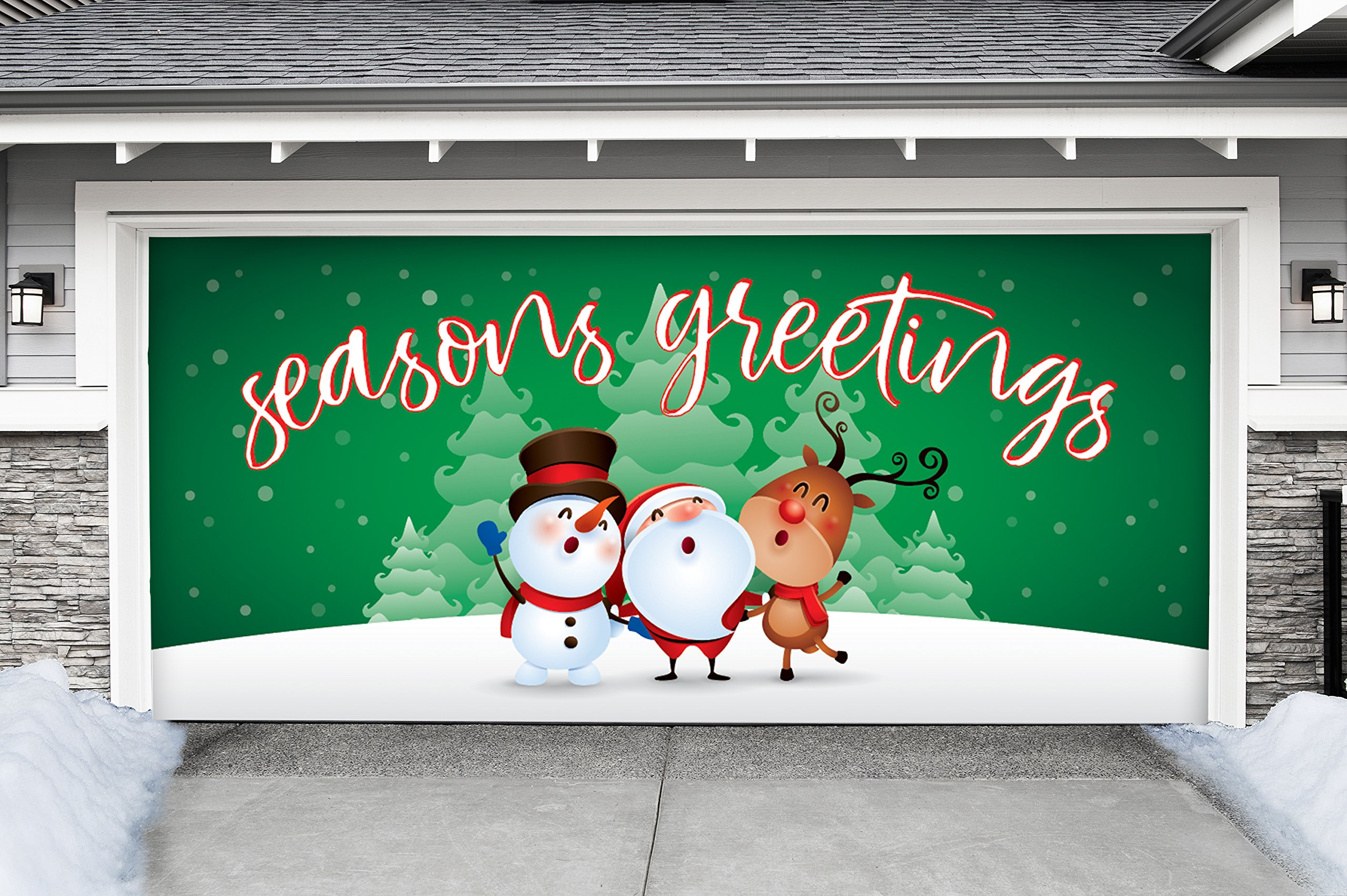 Outdoor Christmas Holiday Garage Door Banner Cover Mural Décoration - Christmas Characters Seasons Greetings Winter - Outdoor Christmas Holiday Garage Door Banner Décor Sign 7'x16' by Victory Corps
