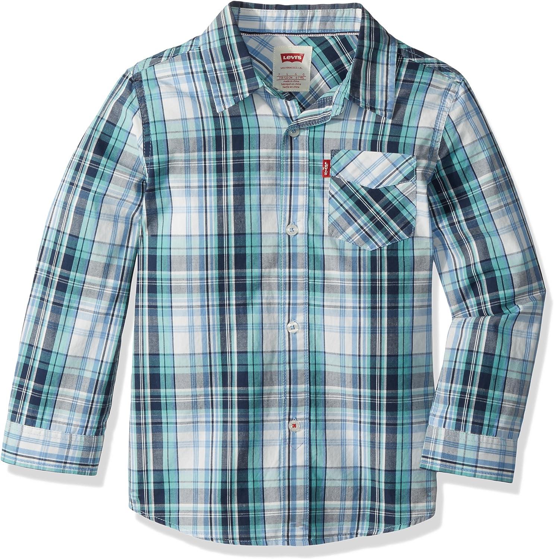 Levis Long Sleeve One Pocket Shirt Camisa con Cuello Abotonado para Niños