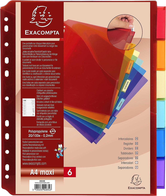 Intercalaires avec Pochette Exactive Polypropylene Haute Resistance 20/100e 5 Positions - A4