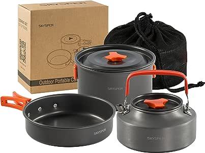SKYSPER Camping Cookware Set Portable Outdoor Cooking Pot 1-2 Person Hiking Aluminum Picnic Pan