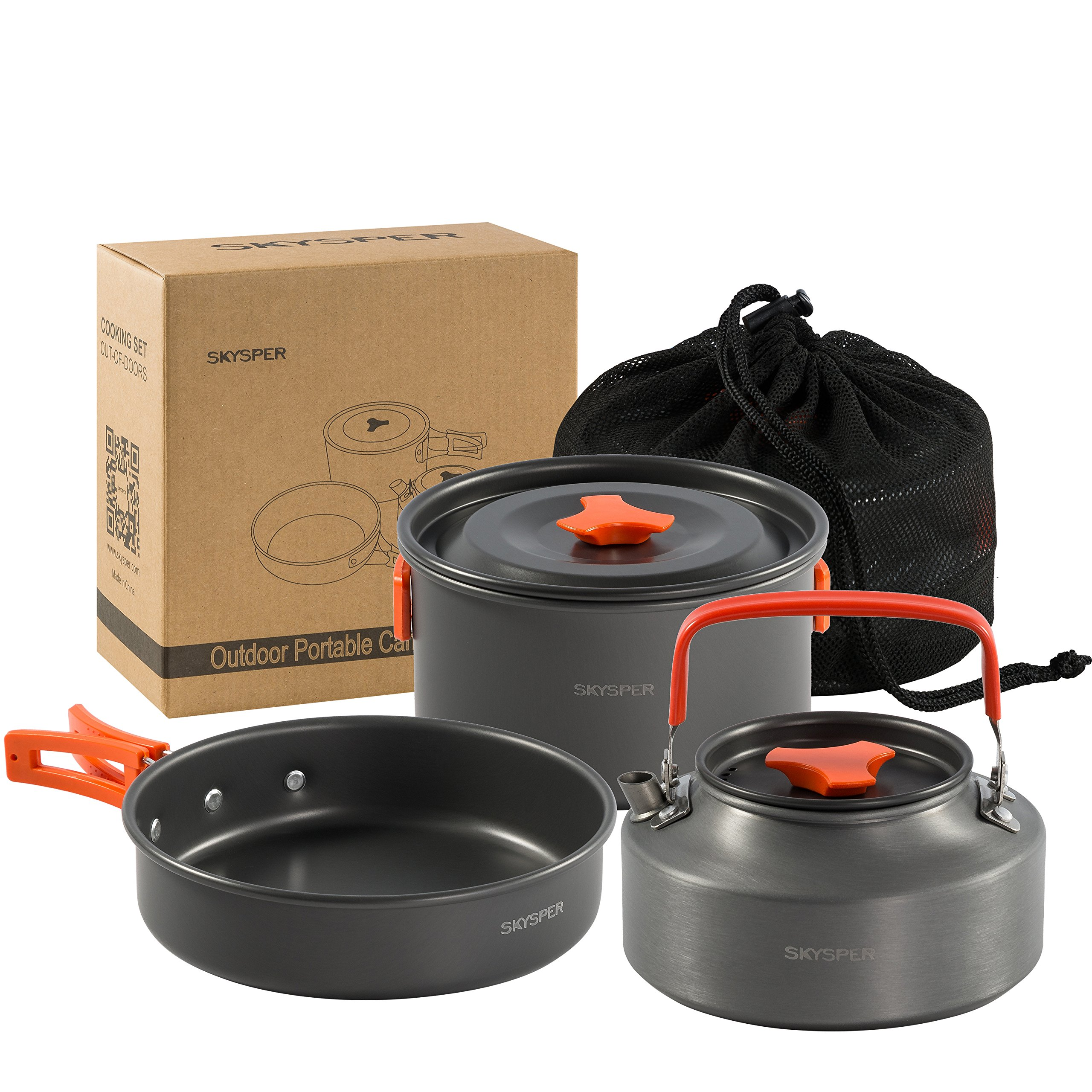 SKYSPER Camping Pot Pan Cookware Kit Outdoor Aluminum Hiking Cooking Set Travel For BBQ Picnic