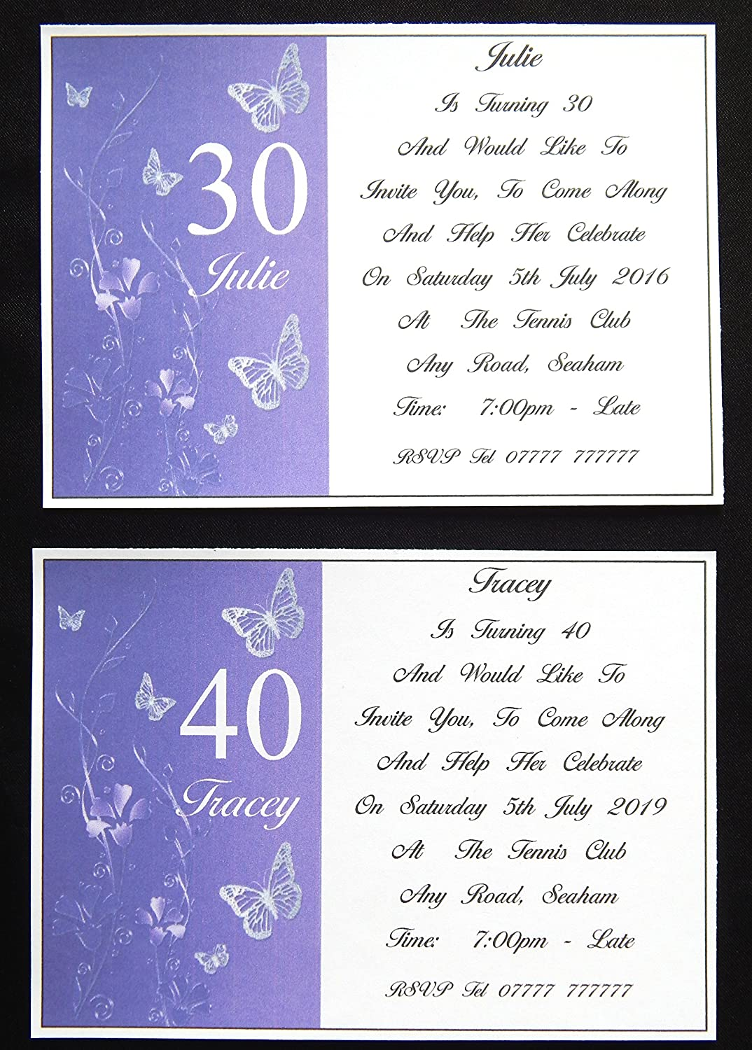 25 50 75 Or 100 X Personalised Purple With Silver Birthday Invitations For 20th 30th 40th 50th Any Design G
