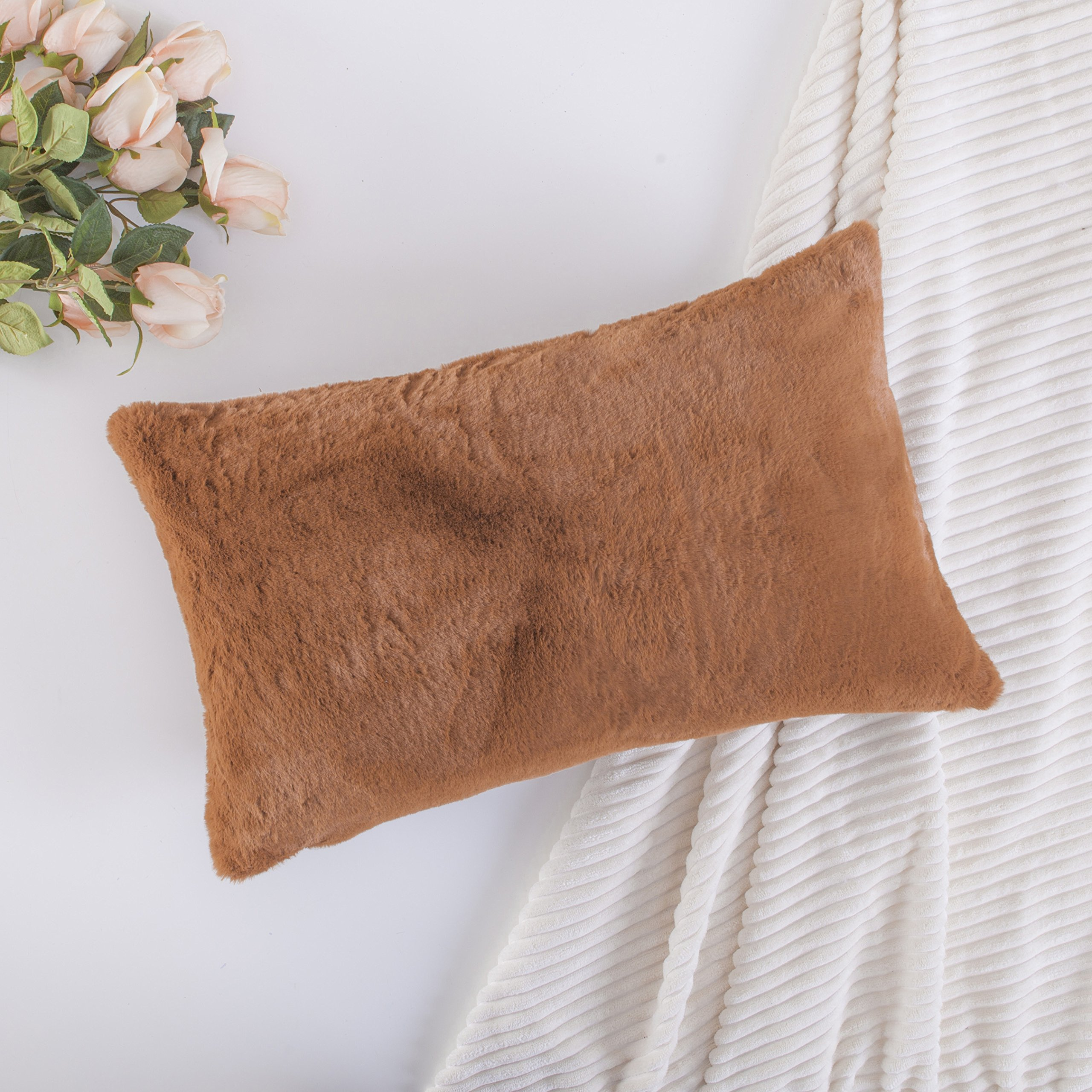 Home brilliant plush fluffy sheepskin fur suede oblong accent throw pillowcase for sofa cushion cover pillow not included 1 pc 12 x 20 inch brown