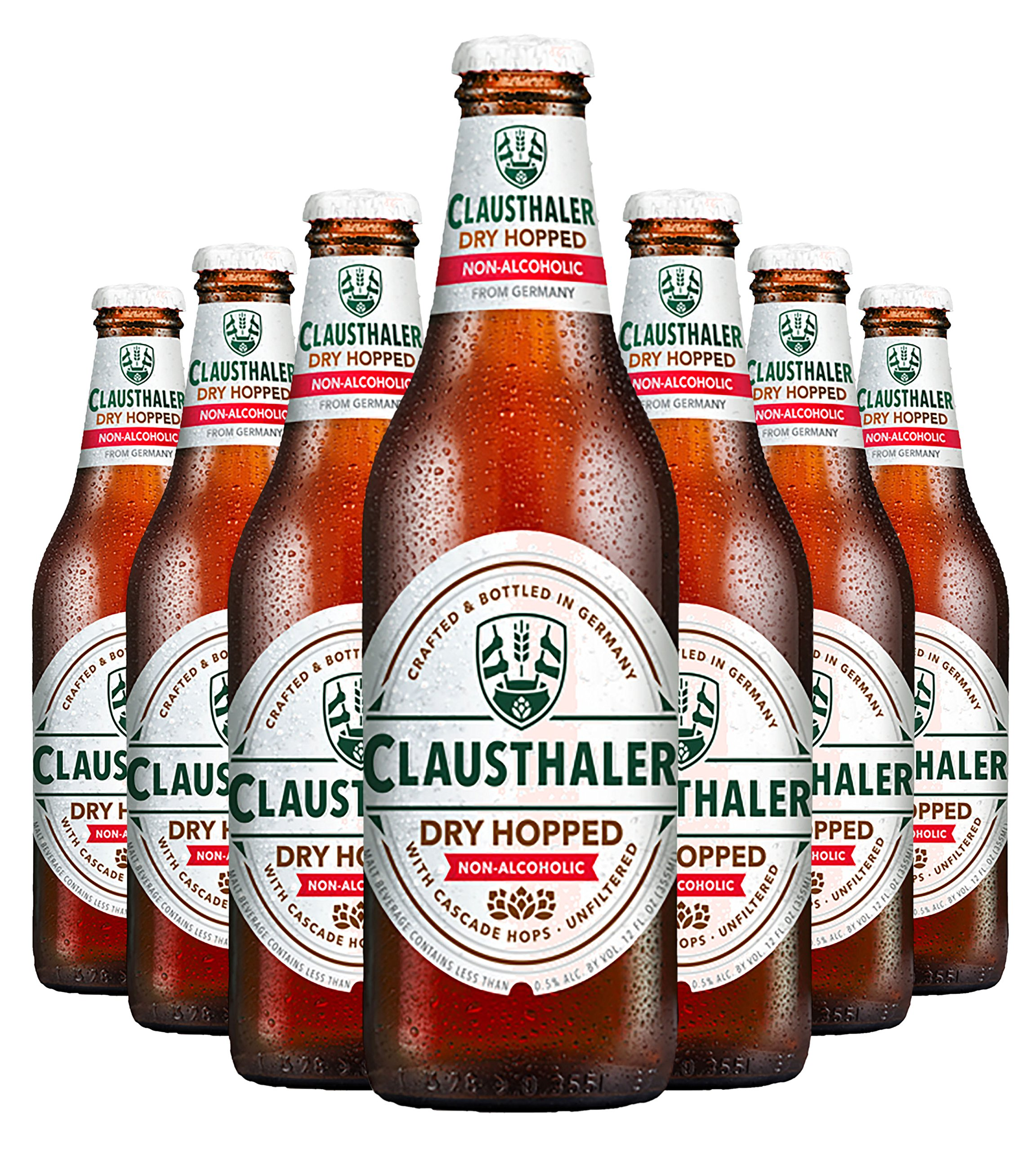 Clausthaler Amber Dry Hopped Non-Alcoholic Beer, 12-oz (350 ml) Case of 12 Glass Bottles