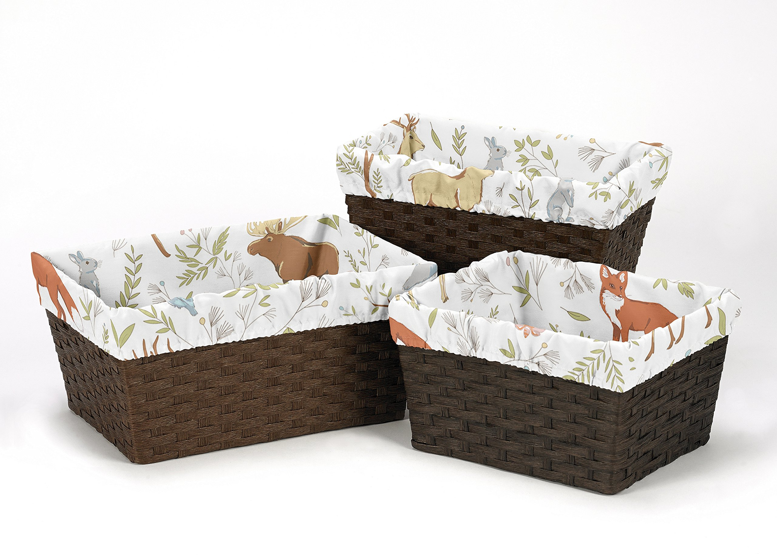 Sweet Jojo Designs 3-Piece Fits Most Basket Liners for Woodland Animal Toile Bedding Sets