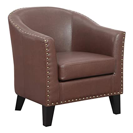 Surprising Ravenna Home Keith Rounded Faux Leather Nailhead Club Accent Chair 29 5W Brown Inzonedesignstudio Interior Chair Design Inzonedesignstudiocom