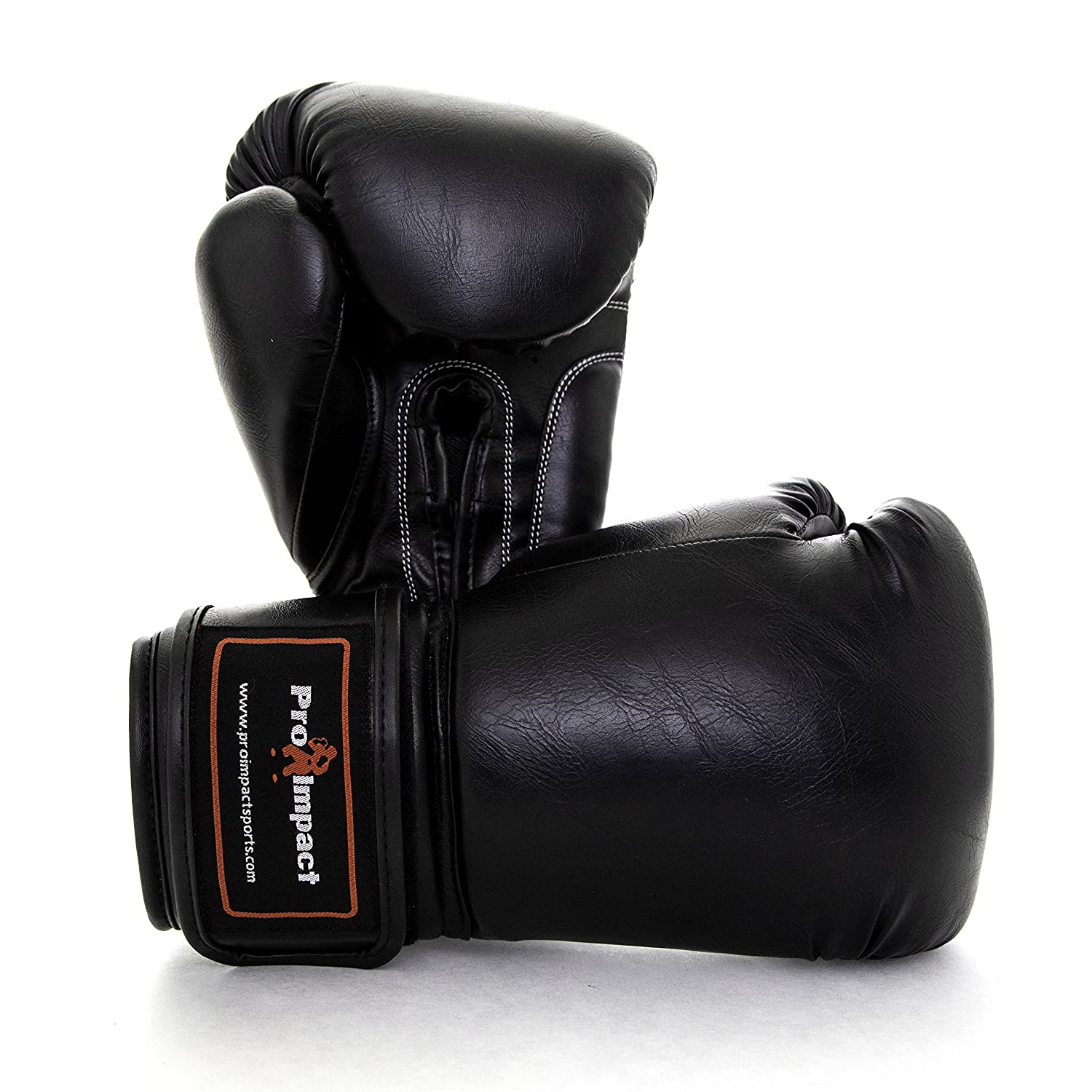 Durable Knuckle Protection w//Wrist Support for Boxing MMA Muay Thai or Fighting Sports Training//Sparring Use Pro Impact Boxing Gloves Black