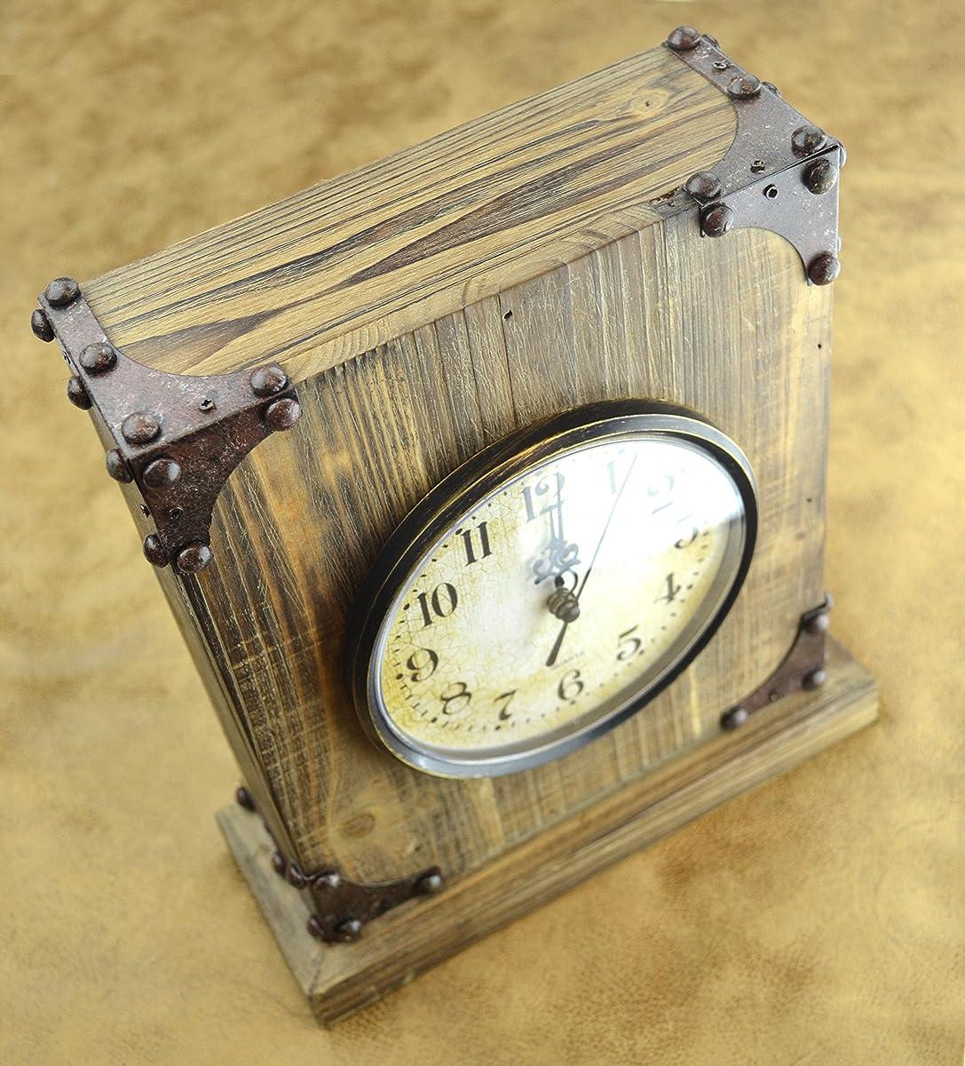LuLu Decor, Rustic Wood Tabletop Clock with Key Holder in Hidden Area (Desk Clock)