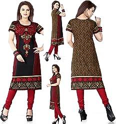 Unifiedclothes Women Fashion Printed Long Indian Kurti Tunic Kurta Top Shirt Dress 118A