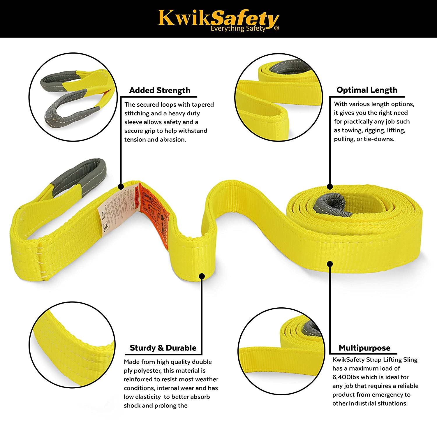 """3200lbs Vertical 2550lbs Choker 6400lbs Basket Load Lifting Rigging Towing Recovery Strap Charlotte, NC MIGHTY SUMO 1/""""x30/' Industrial Web Sling ASME Certified 2 Ply Eye-Eye Webbing KwikSafety"""