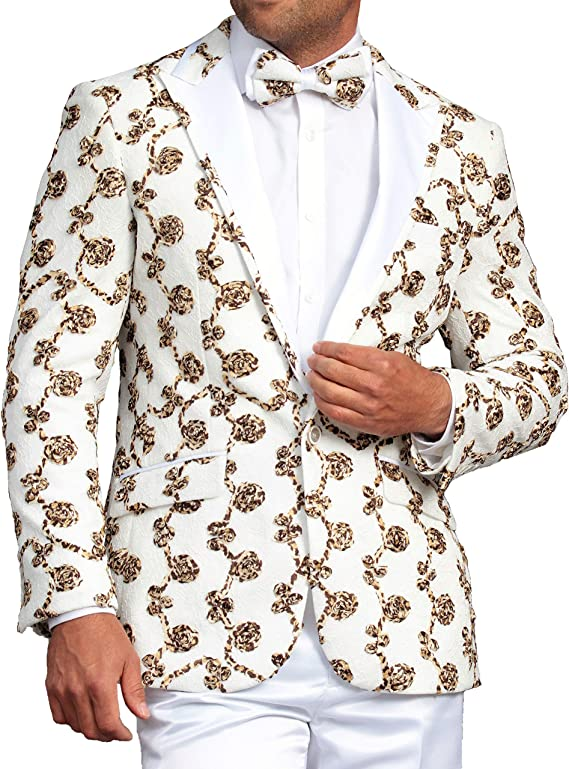 4XL Mens Luxury Floral Burgundy Dress Blazer Suit Jacket Modern Fit One Button w Bow Tie S-4XL Party Prom Stage Tuxedo