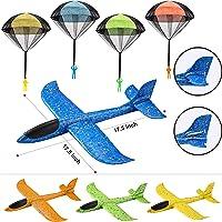JOYIN 8 Pack 2 in 1 Foam Vliegtuigen en Parachute Toy Combo Set, 2 Flight Mode Glider Vliegtuigen, Grote Gooiende Foam…