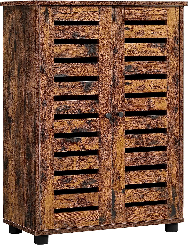 VASAGLE Bathroom Cabinet Floor Cabinet, Storage Cabinet with Louvered Doors, 2 Height Adjustable Shelves, for Bathroom, Living Room, Hallway, Rustic Brown UBBK142X01