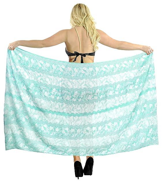 "45ab803500ecc LA LEELA Sheer Chiffon Wrap Pareo Suit Women Sarong Printed  78""X39"" Blue_1887"