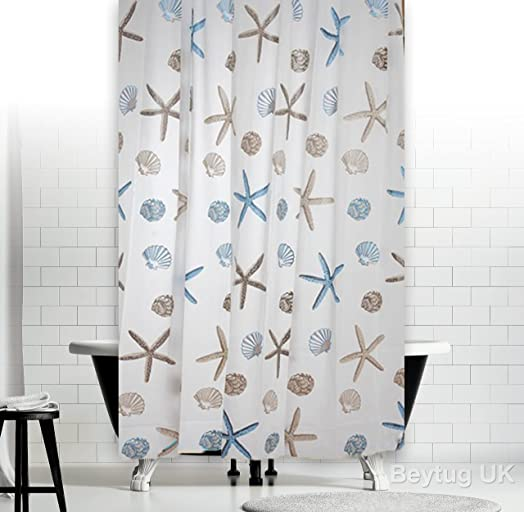 New Elegant Bathroom Shower Curtain Extra Long With Hooks 180 X 200 Cm Ocean