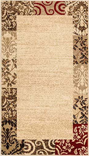 Well Woven Verdant Vines Beige Modern Damask Border Rug 2×4 2 3 x 3 11 Casual Oriental Easy Clean Stain Fade Resistant Shed Free Contemporary Floral Formal Gradient Soft Living Dining Room Rug